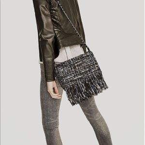 Zara Tweed Fringed Crossbody Bag